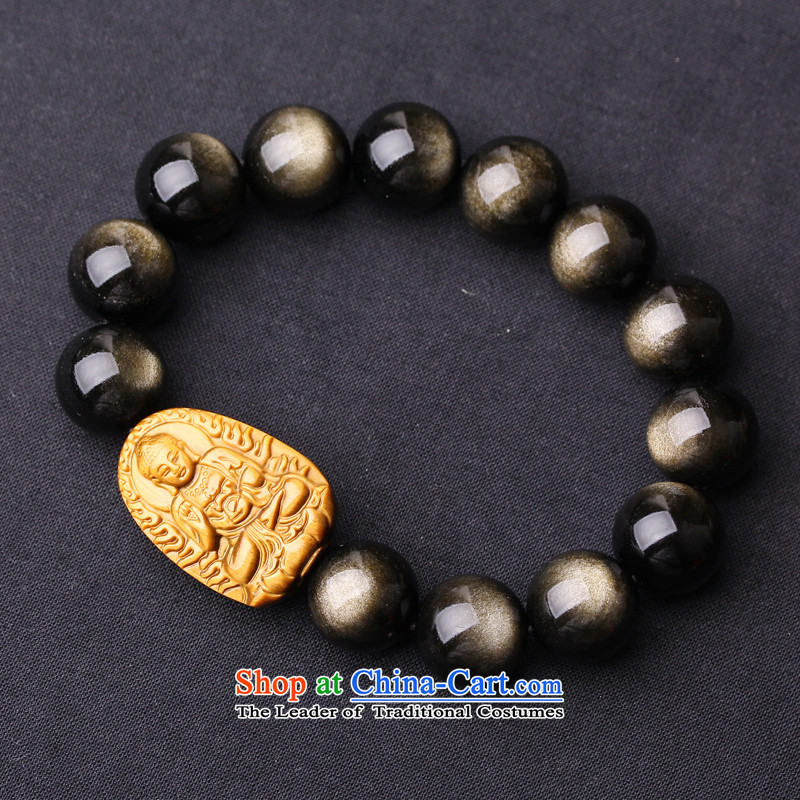 The natural Kim Obsidian this order by order of the Board, the string lovage root mascot tiger fine stone five lines of Kai Tai hand Chain Life Patron of the Chinese zodiac men Xiao Xiao Pig dog Amitabha Buddha
