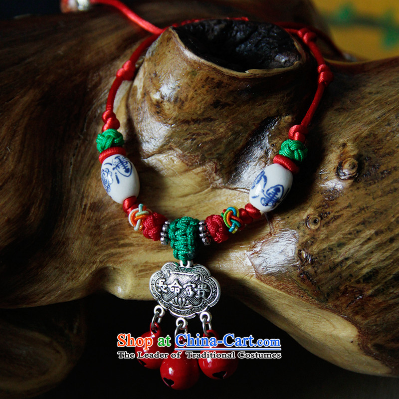 The Bride Napping stylish ethnic ceramic ancient silver hand string of long-lived by order of the bells of nostalgia for the lock, weaving Red Hand chain woman, flower shop online for , , ,