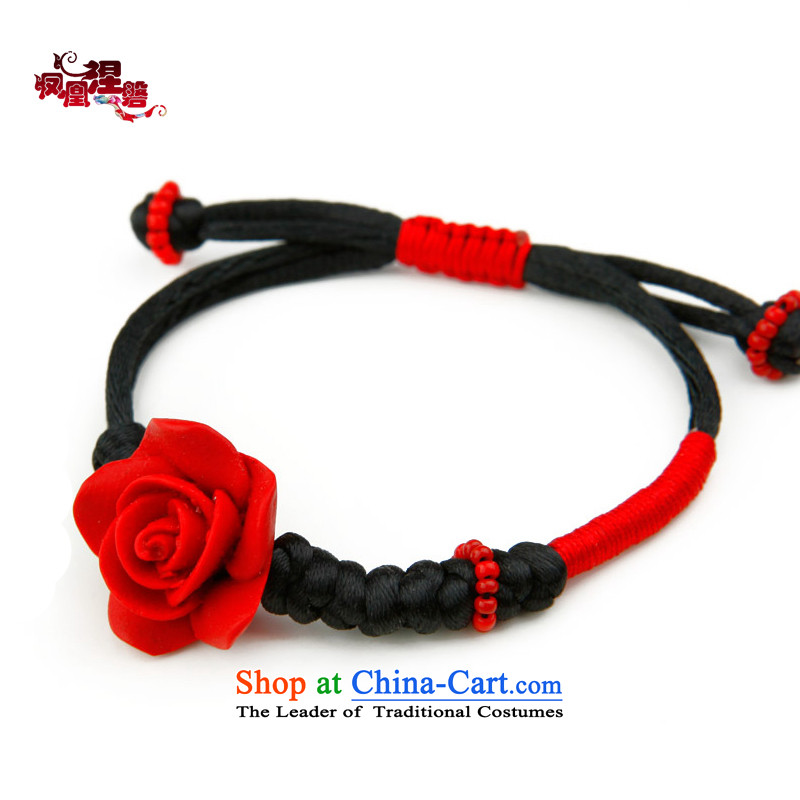 Phoenix Nirvana Hand chain female stylish Rose diao lacquer original manually聽DIY聽China wind Ornaments