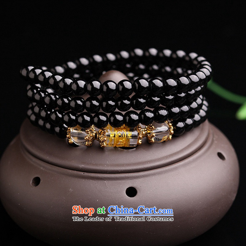 12 animals of the Clare Albemarle emulation black Onyx Obsidian Hand chain Crystal 108 bead multi-turn female couple) Ornaments black 6mm Zodiac Monkey of agate Klein (kelaiyabao Ya Bao) , , , shopping on the Internet