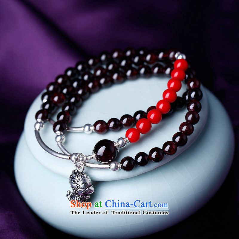 Phoenix Nirvana hand string female ancient style of pomegranate wine red stone 925 silver zodiac hand chain of ethnic ornaments of Yao (hand chain ) mouse, Phoenix Nirvana , , , shopping on the Internet