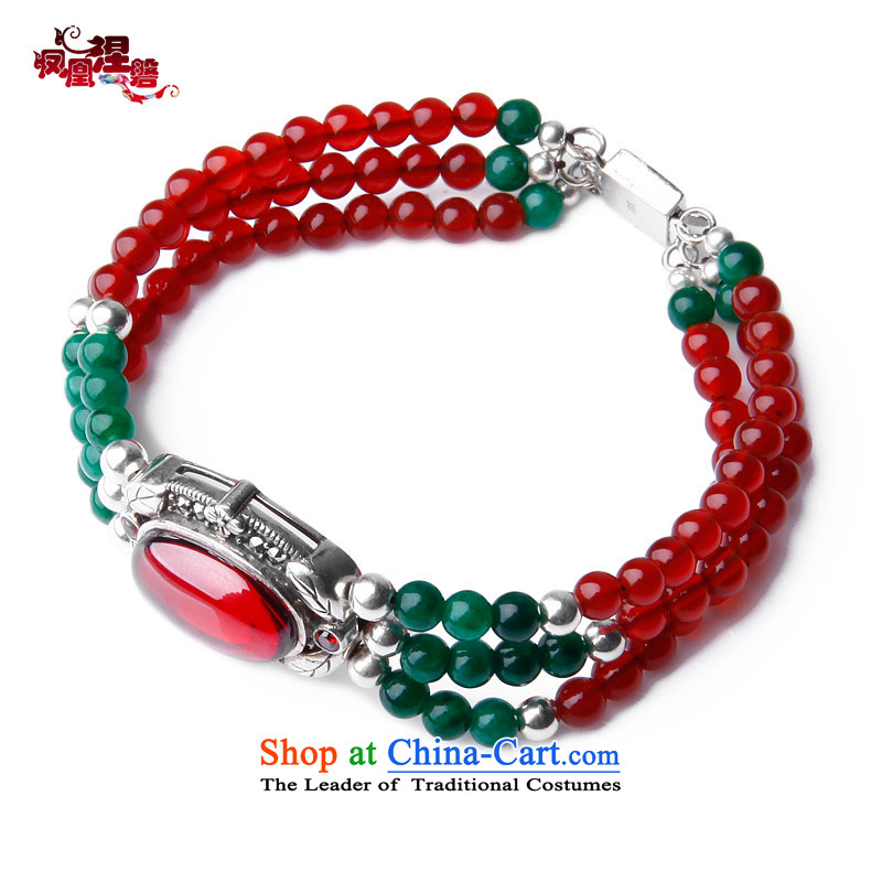 Phoenix Nirvana natural Red Agate multi-slice, multi-ring hand chain female 925 silver jewelry three layers of China wind manually Ornaments
