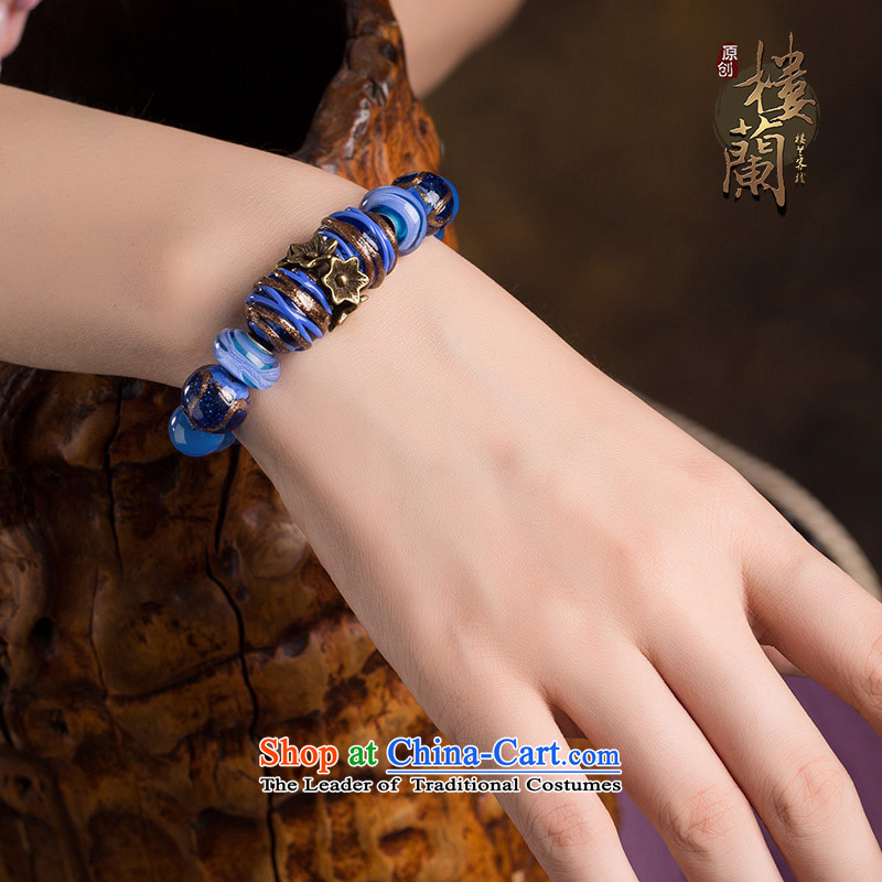 Original retro-Tibetan ethnic decor hand chain female blue glaze agate hand string China wind jewelry products wrist net size _Posted Amount wrist _14-17 cm