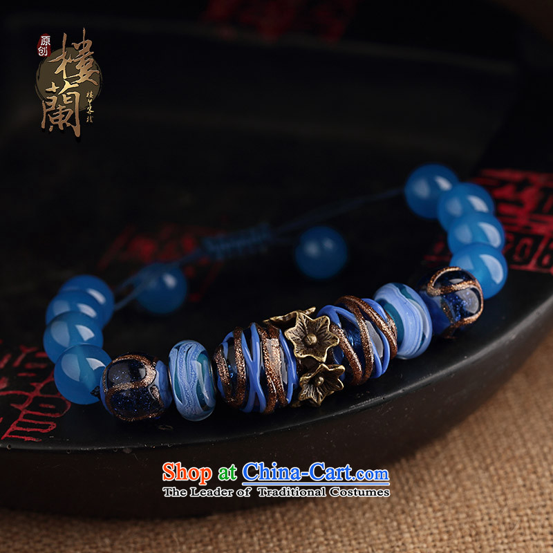 Original retro-Tibetan ethnic decor hand chain female blue glaze agate hand string China wind jewelry products wrist net size _Posted Amount wrist _17-20 cm