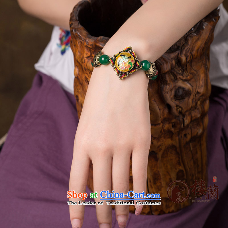 Original Cloisonne Accessory ethnic hand manually link agate hand woven retro female string China wind jewelry wrist net size _Posted Amount wrist _14-16.5 cm