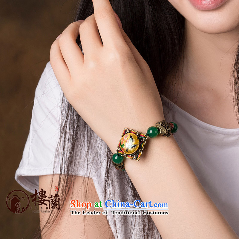 Original Cloisonne Accessory ethnic hand manually link agate hand woven retro female string China wind jewelry wrist net size _Posted Amount wrist _16.5-19 cm