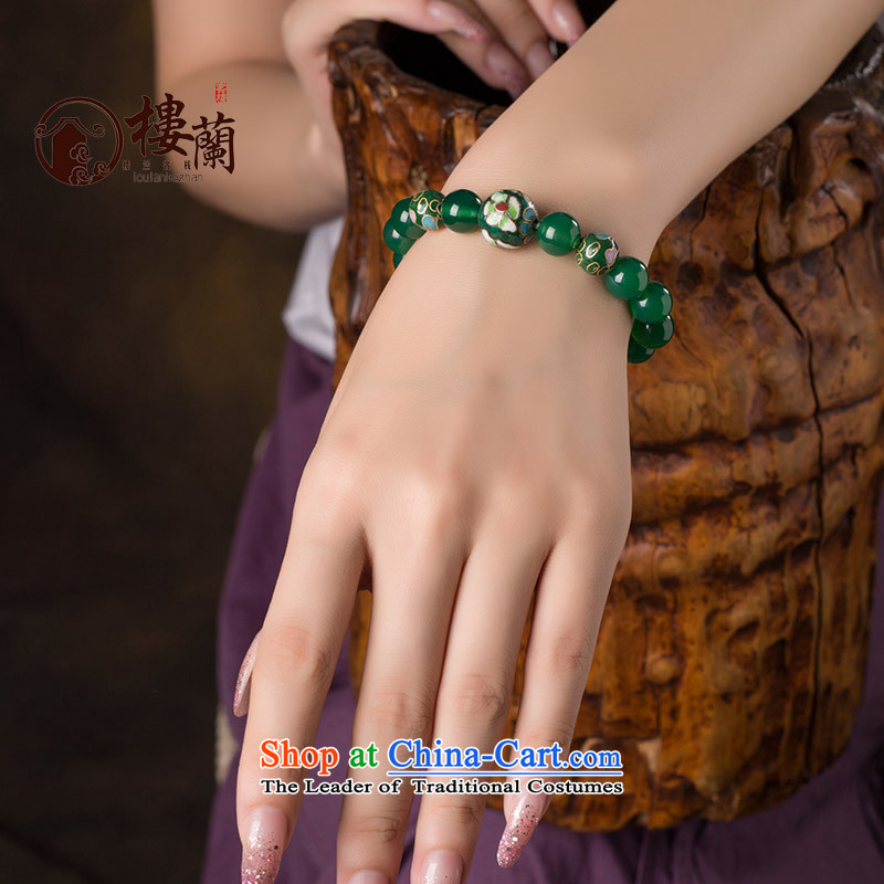 Green ethnic boudoir honey hand chain students Cloisonne Accessory agate hand string female China wind jewelry products wrist net size 19 cm