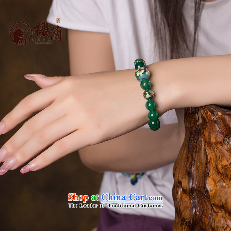 Green ethnic boudoir honey hand chain students Cloisonne Accessory agate hand string female China wind jewelry products wrist net size 18 cm