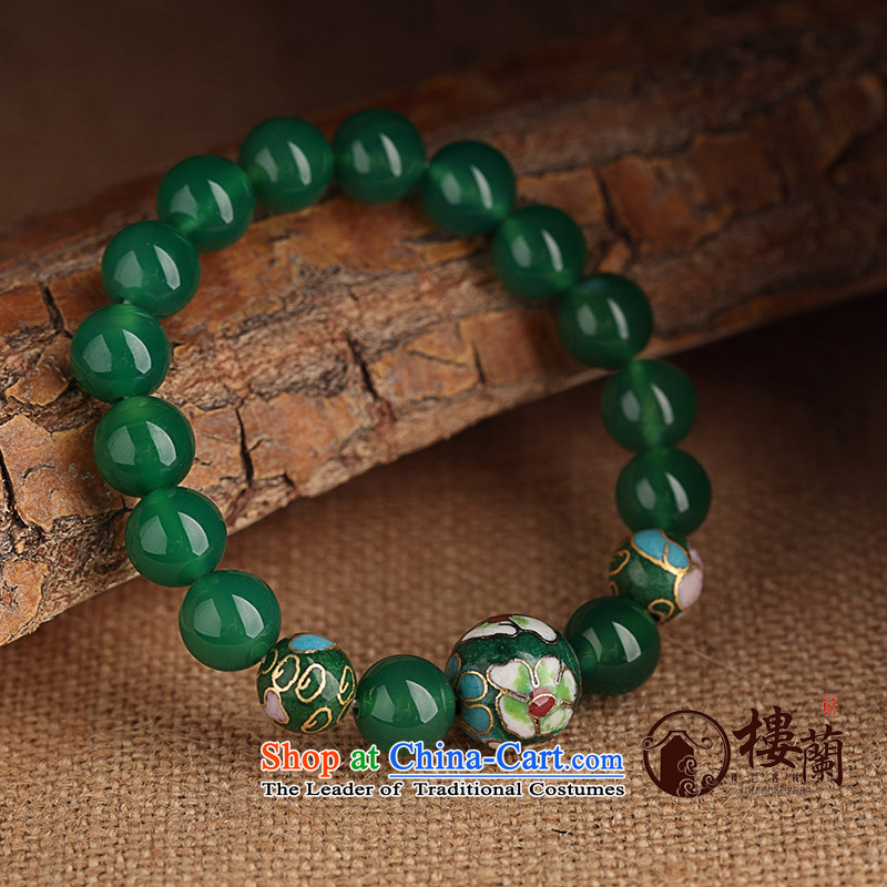Green ethnic boudoir honey hand chain students Cloisonne Accessory agate hand string female China wind jewelry products wrist net size 17 cm