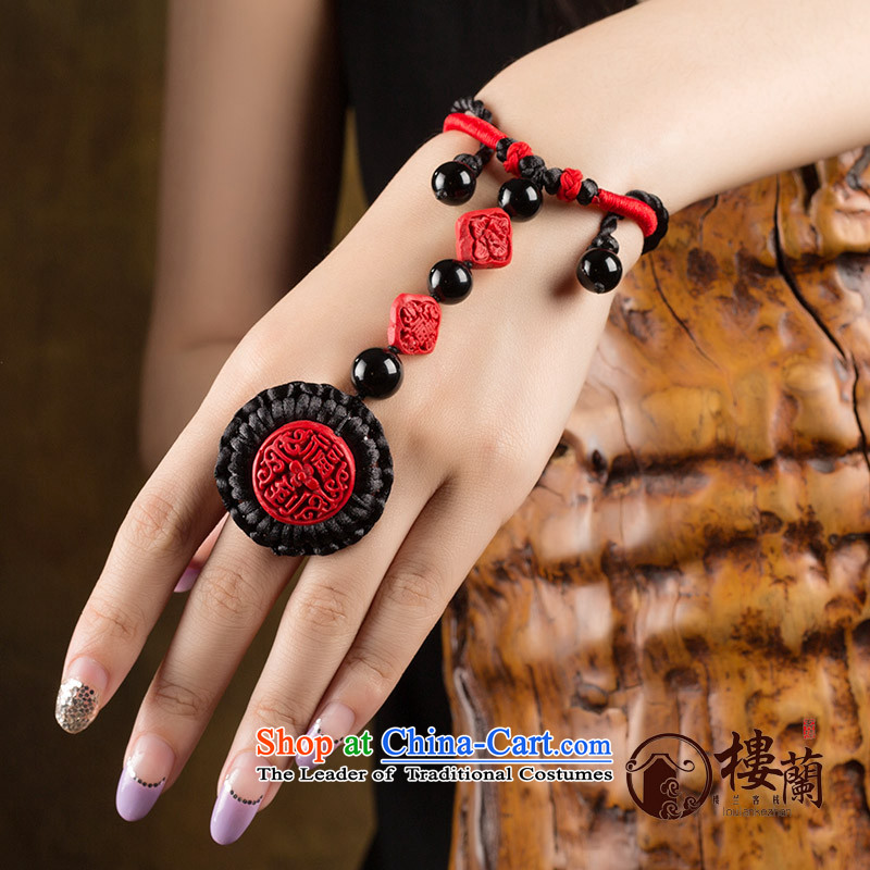 Paint carved ethnic hand link rings integration link this year by order of the Board China wind red back link female finger circumference size Net 6 cm