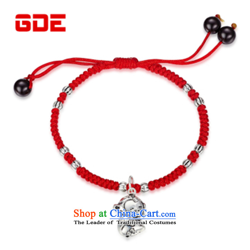 Gde 925 silver Red Hand chain female zodiac couples hand chain retro and silverware this year by order of the Chinese Zodiac Monkey Red string to the optical card