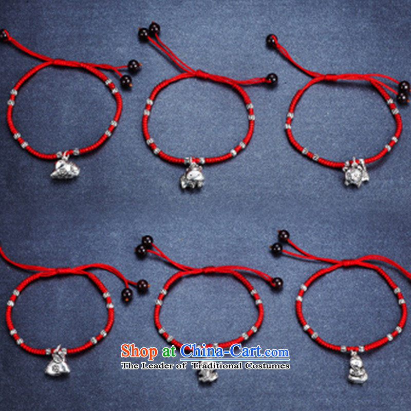Gde 925 silver Red Hand chain female zodiac couples hand chain retro and silverware this year by order of the Chinese Zodiac Monkey Red string to the optical card ,gde,,, shopping on the Internet