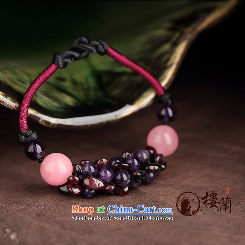 Jewelry products manually China wind pomegranates stone Purple crystal powder hand chain hand strap transshipment wild clavicle female wrist _Please attach net size of 15 cm wrist strap