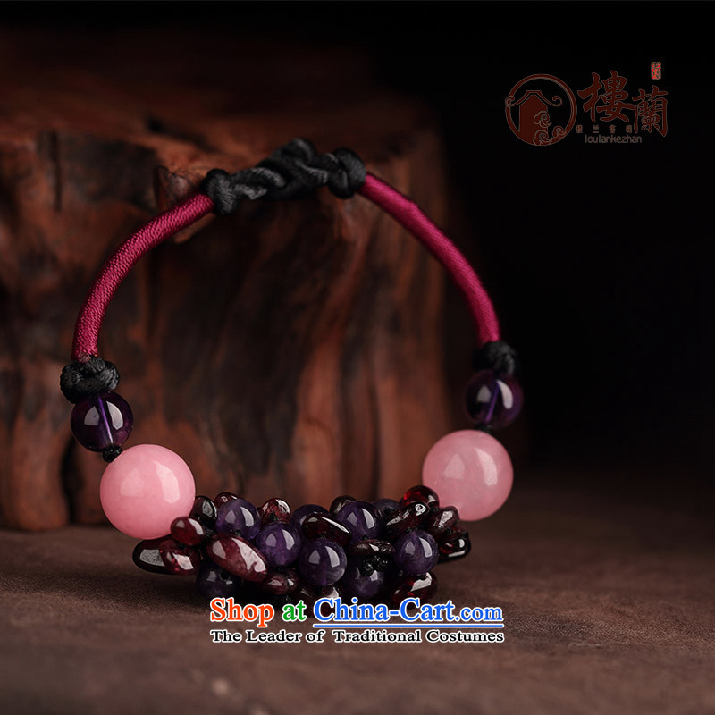 Jewelry products manually China wind pomegranates stone Purple crystal powder hand chain hand strap transshipment wild clavicle Custom Size __ girls be sure to note the net size (Please attach a wrist strap)