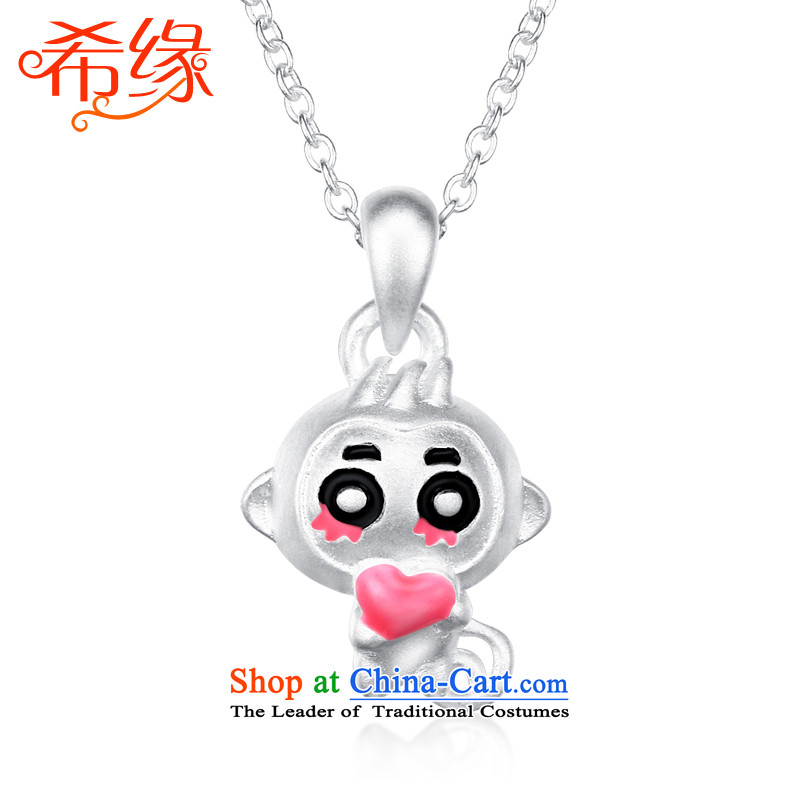 The Greek edge?S925 silver necklace women?in hip hop monkeys 3D Pendant Korean lovely couples jewelry clavicle link birthday gift of the Chinese Zodiac Monkey, Thanksgiving Day men monkey+O field silver link