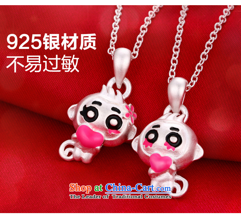 Pickup loveS925 silver necklace female3D of monkeys land heart pendants Korean lovely couples pendants link of the Chinese Zodiac Monkey, collarbone jewelry birthday gift for couples a pair of price picture, prices, brand platters! The elections are supplied in the national character of distribution, so action, buy now enjoy more preferential! As soon as possible.