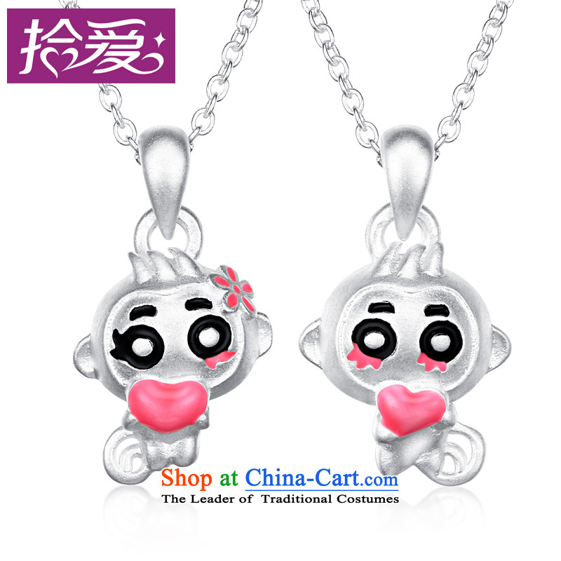 Pickup love?S925 silver necklace female?3D of monkeys land heart pendants Korean lovely couples pendants link of the Chinese Zodiac Monkey, collarbone jewelry birthday gift for couples a pair of price