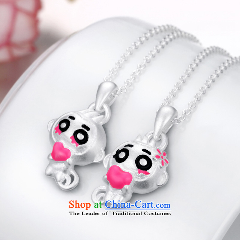 Pickup loveS925 silver necklace female3D of monkeys land heart pendants Korean lovely couples pendants link of the Chinese Zodiac Monkey, collarbone jewelry birthday gift to the price of a couple who love the pickup , , , shopping on the Internet