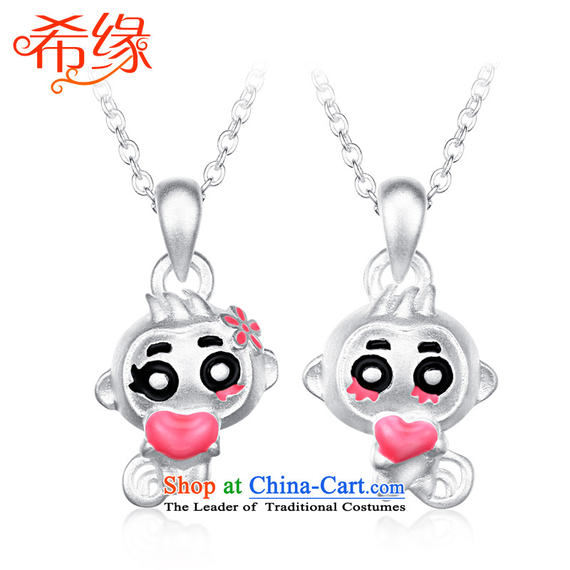 The Greek edge?S925 silver necklace women couples monkey pendants Korean lovely couples jewelry clavicle link birthday gift of the Chinese Zodiac Monkey, Thanksgiving couples a pair of price