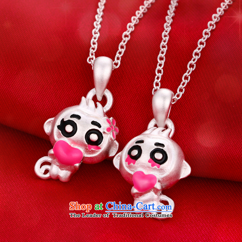 The Greek edge S925 silver necklace women couples monkey pendants Korean lovely couples jewelry clavicle link birthday gift of the Chinese Zodiac Monkey, Thanksgiving couples a pair of prices, the Greek edge , , , shopping on the Internet