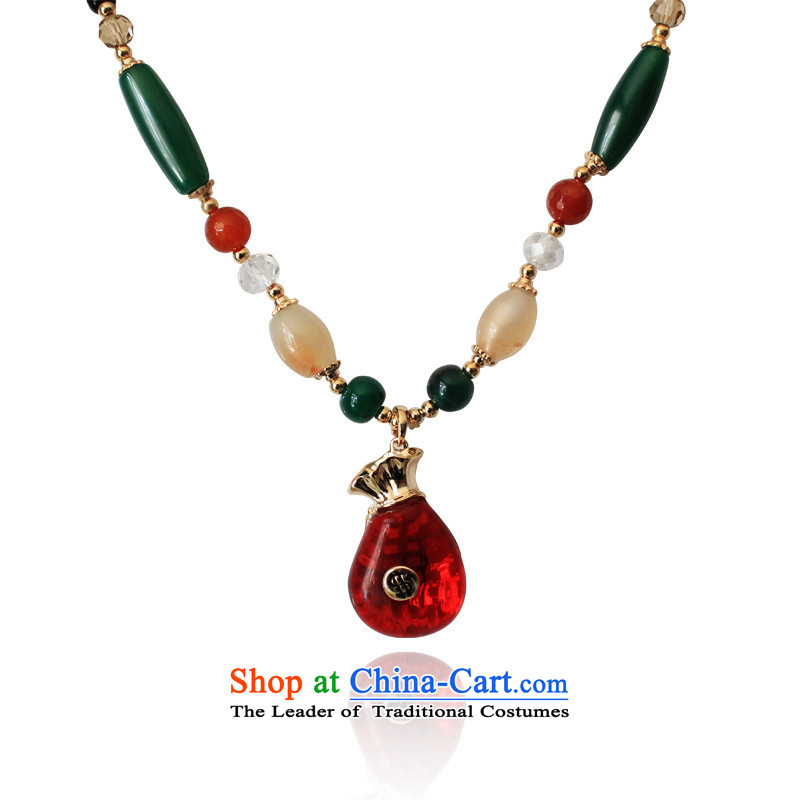 The New China National wind cat's-eye effect the purse string necklace twine agate long chain purse red sweater