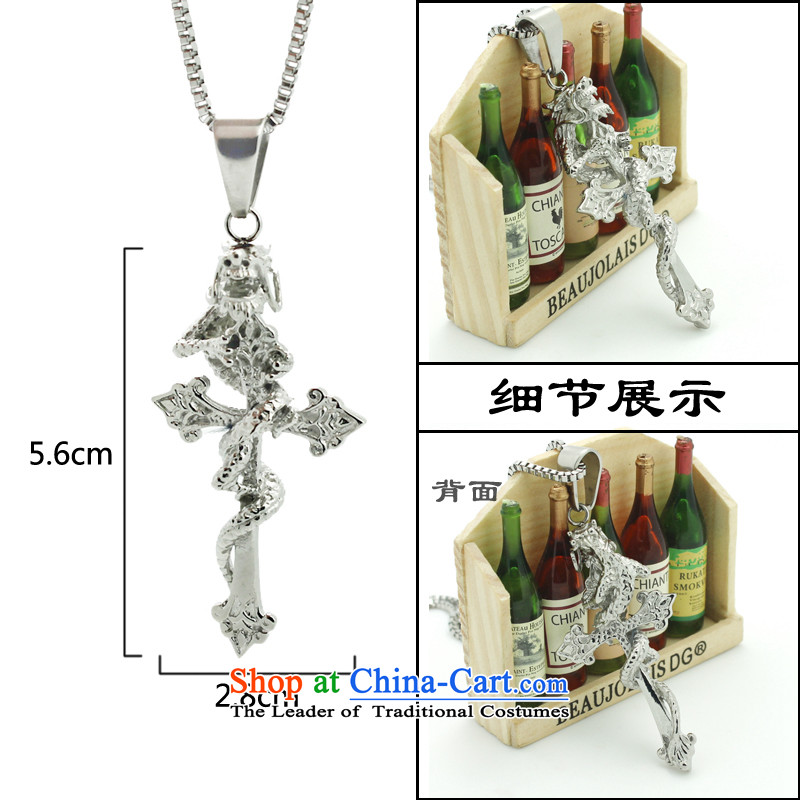 On drunken China wind dragon of Korean men cross Stylish ornaments steel titanium men male and Steel Boxes Chai chain necklace to PU twine, drunken zuiyue () , , , shopping on the Internet