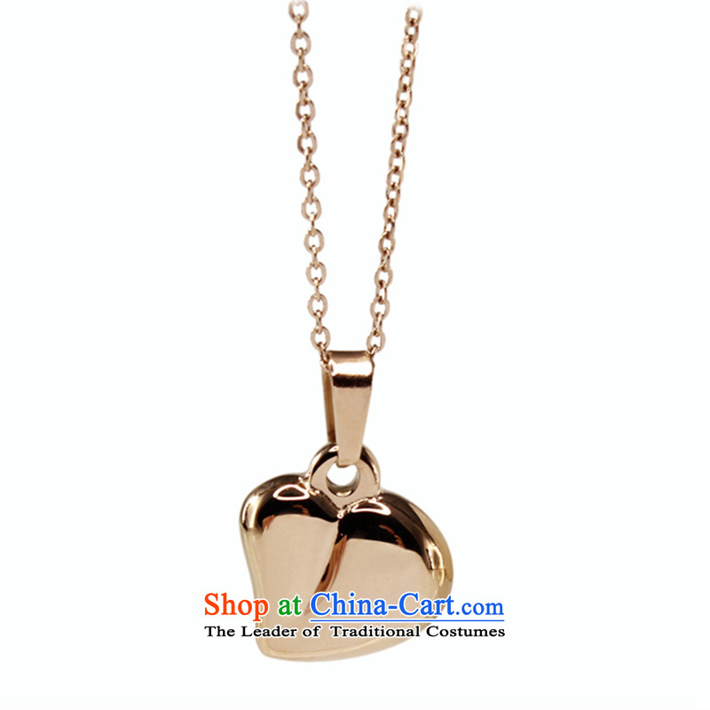 Polycom Steel Korean love mahogany and pendants necklace couples Jewelry Ornaments rose gold-plated steel chain sent girlfriend clavicle birthday gift promotion in the China Super Honey Love, Polycom steel (polly steel) , , , shopping on the Internet