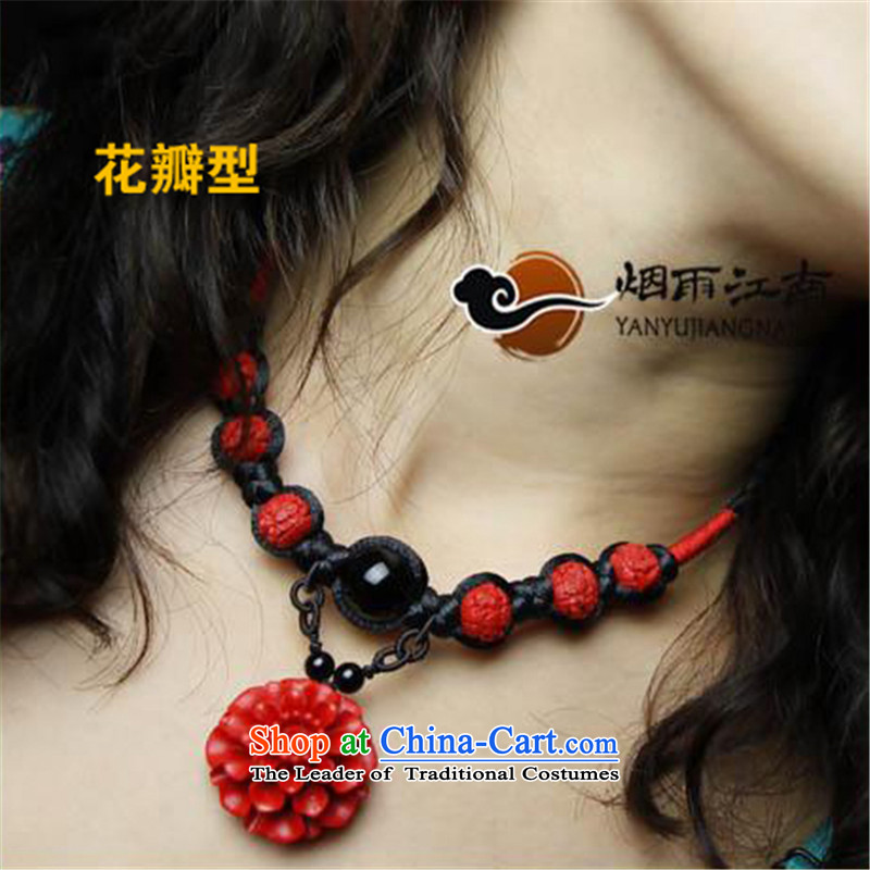 The smoke from the Gangnam short link national Wind China wind manually agate marriage jewelry female clavicle petal standard length (45 cm)
