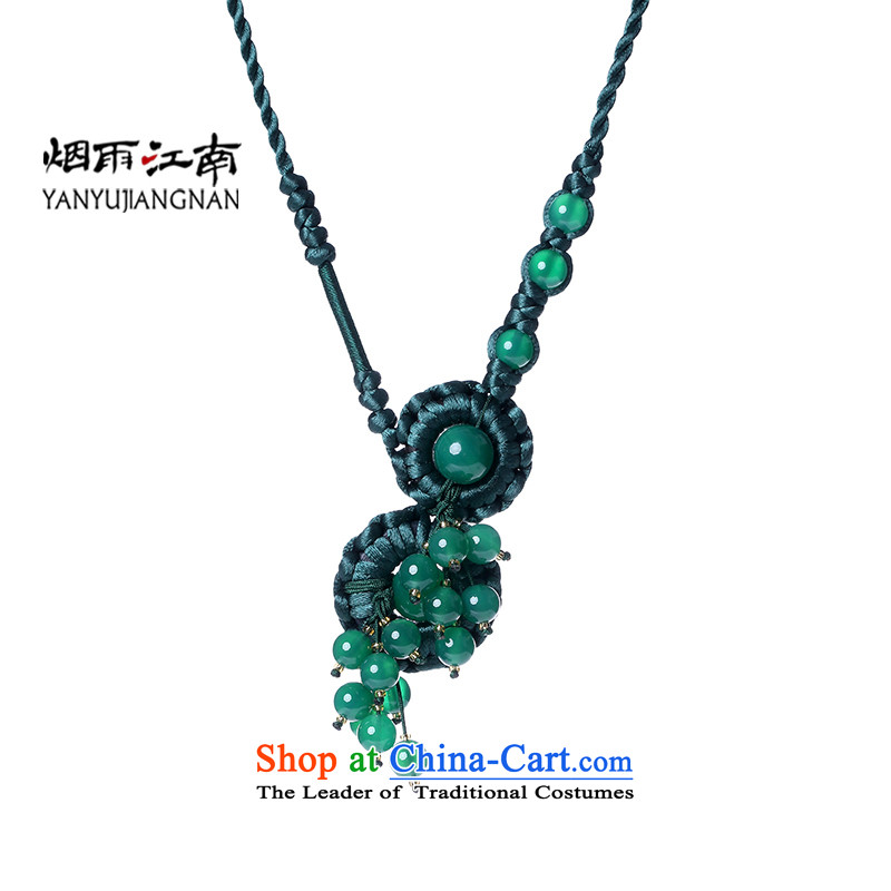 The rain streamed from the Gangnam Su short link female retro China wind green agate ornaments, Ms. Custom Length (be sure to write the message