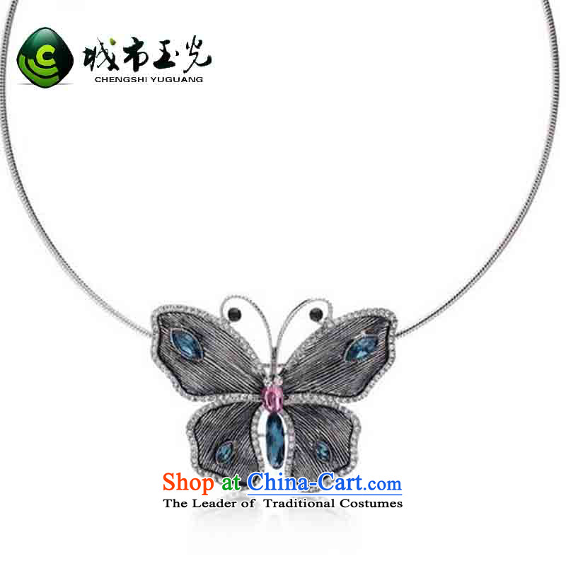 City Yuk Kwong stylishly butterfly collar butterfly collar short necklace birthday gift for the Chuseok gifts ancient silver National Day