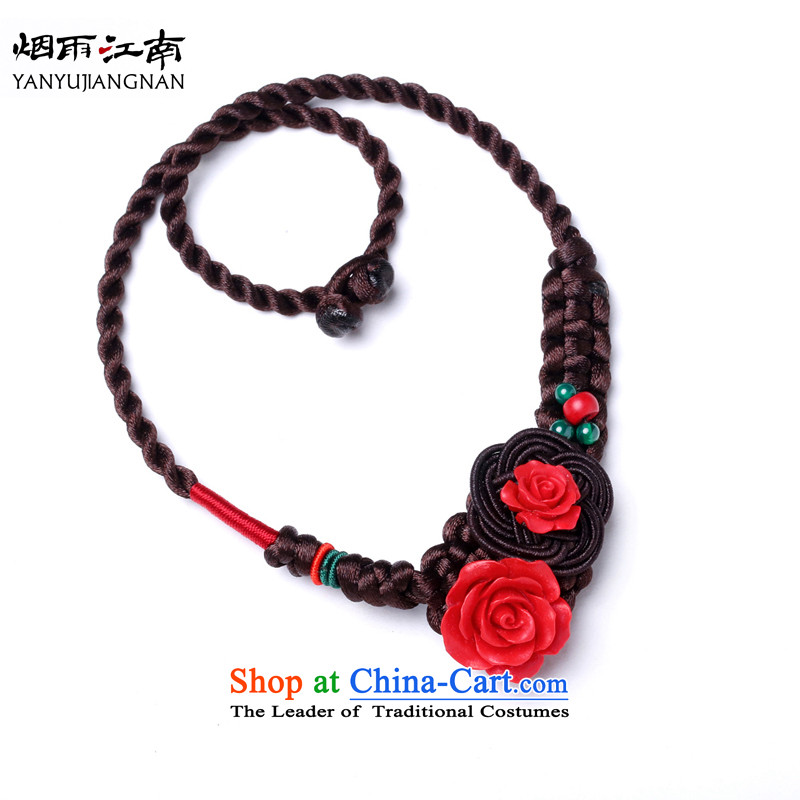 Gangnam-gu rainy in red paint roses black and carved necklace ethnic clavicle jewelry retro China wind girls themselves (Please Be Specific length size message)