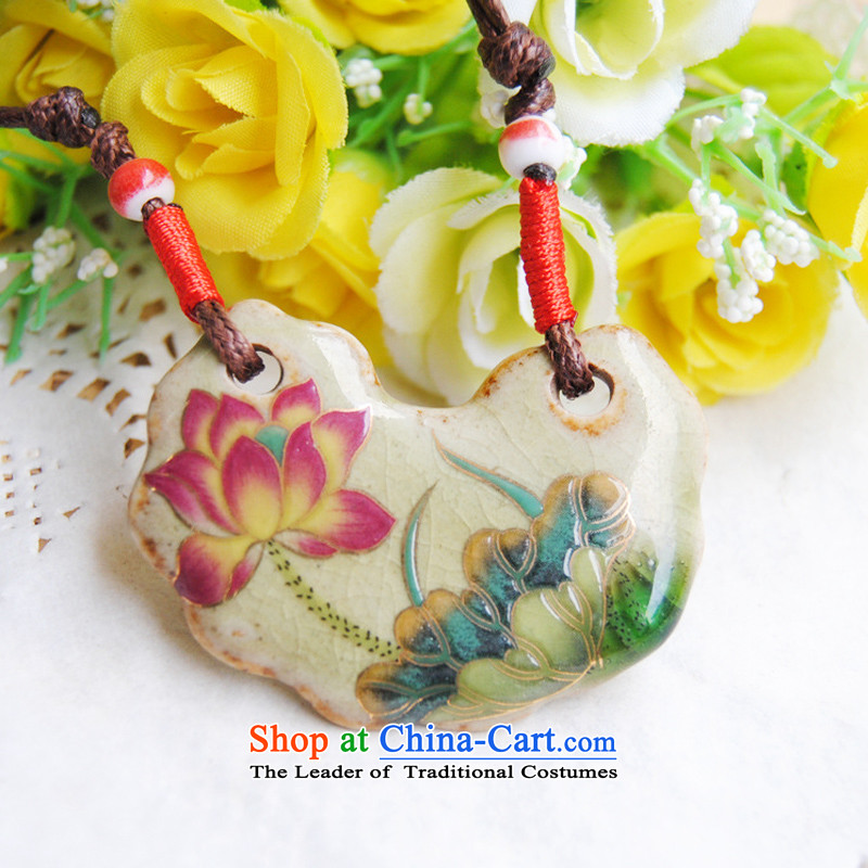Sunroof (sky window China wind ceramic retro Mudan necklace cotton linen wild ornaments auspicious lock pendants ethnic sweater, I should be grateful if you would have the link antique Kim Sunroof (sky window shopping on the Internet has been pressed.)