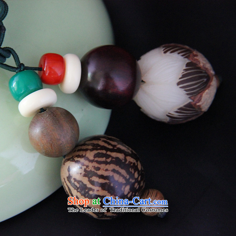 Hanata for China wind a ring chain of ethnic retro manually tiger stripes bodhi carved lotus walnut necklace cotton linen jewelry design more green, auspicious