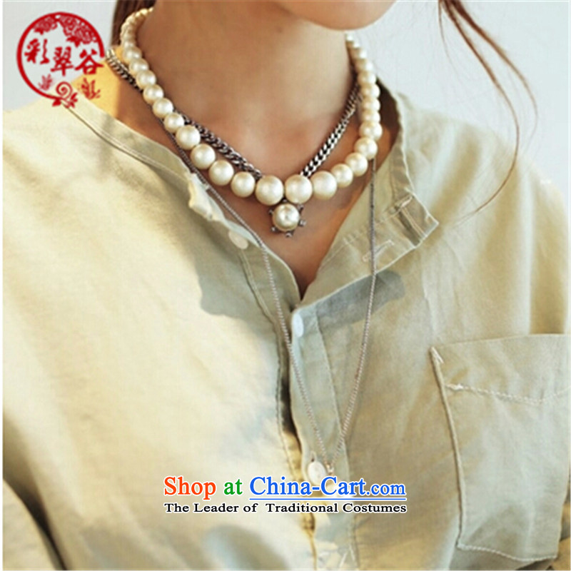Multimedia verdant valleys multi-tier sweater link pearl parquet water drill three layers of long chain payment chain mounting accessories female gift of the ancient silver Hong Kong Valley Shopping on the Internet has been pressed.