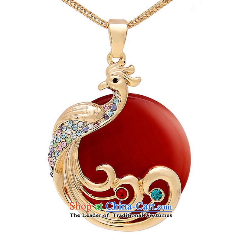 Kim Taek-Long Shong Happy Golden Phoenix Red Cat Eye Pendant sweater link wall hangings happy Chinese red