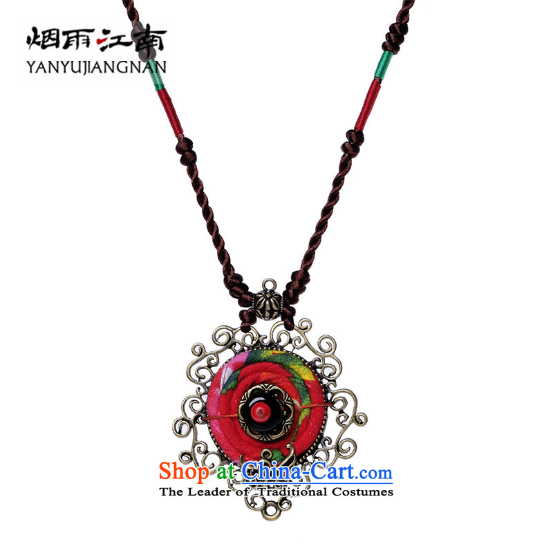Gangnam-gu rainy necklace handcrafted accessories from long ethnic sweater chain hang Hang Chain China wind fabrics pendants women own length (Please Be Specific Size message)