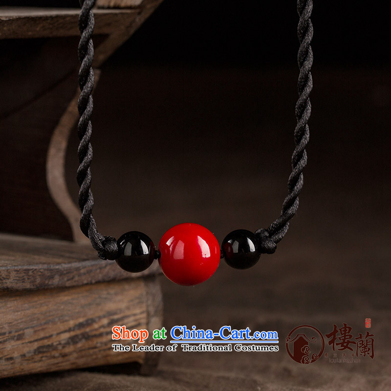 The summer and fall short of the Black agate ethnic clavicle link minimalist female red retro China wind necklace accessories accessories standard size link circumference 48 cm