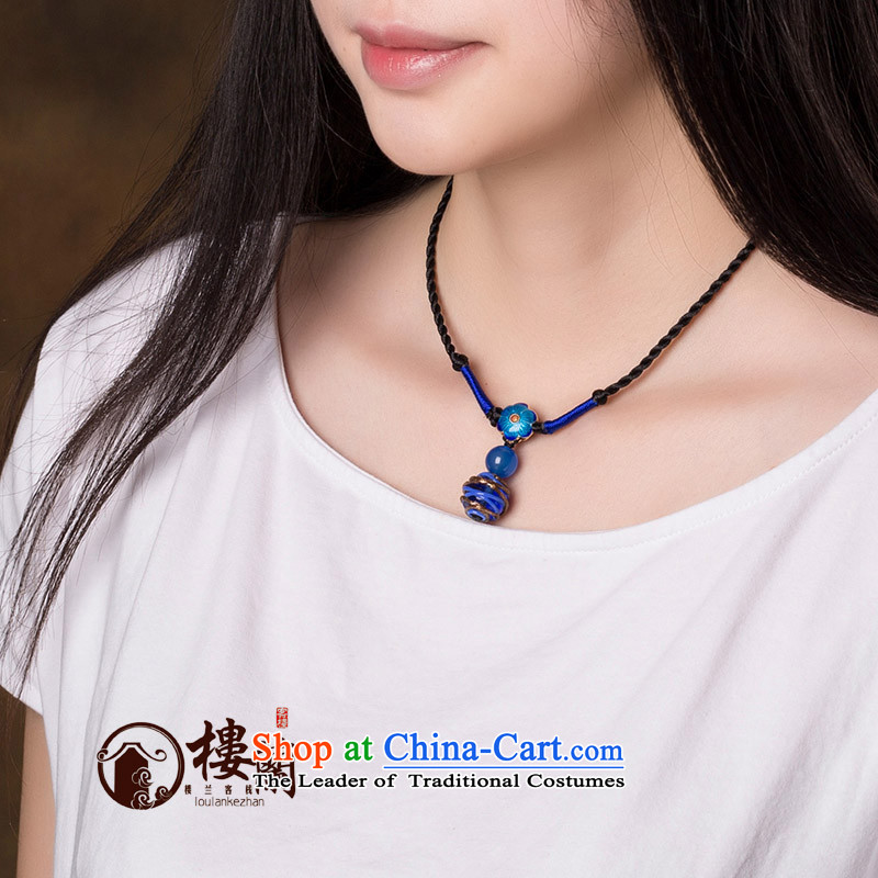 In the summer and autumn Cloisonne Accessory of ethnic pendants glass agate necklace China wind clavicle link minimalist short_ Accessories female standard size link circumference 42 cm