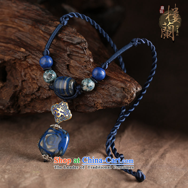 Blue Ceramic Cloisonne Accessory hanging pendants retro ethnic necklace female China wind jewelry products standard size_ link, 48 cm perimeter of the United States , , , shopping on the Internet