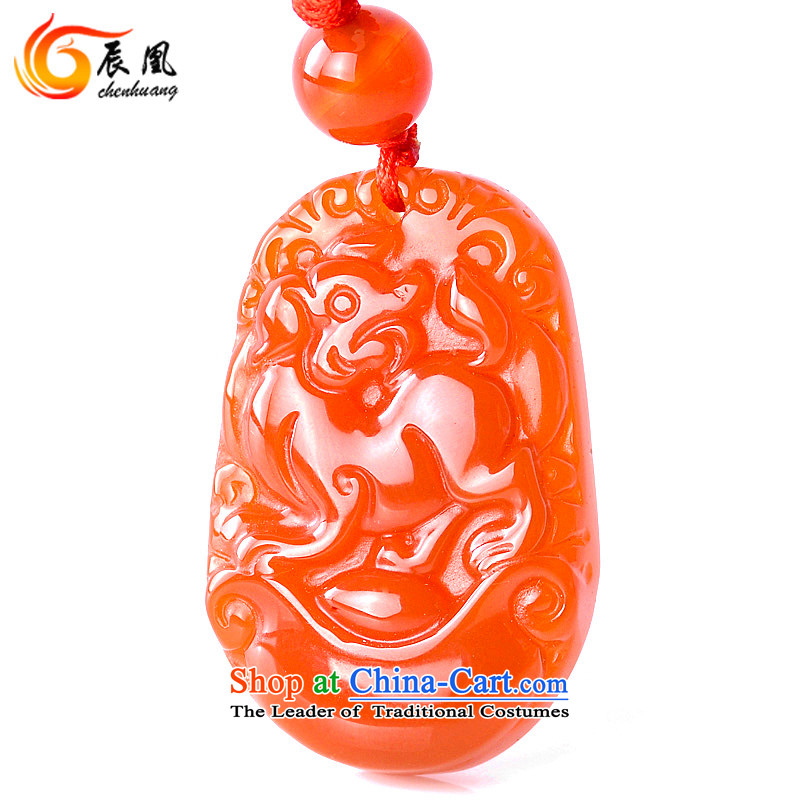 E for 2016 natural Red Agate Pendant Zodiac necklace Yuk-pei men and women of the Chinese zodiac (Ordinary hanging cord)