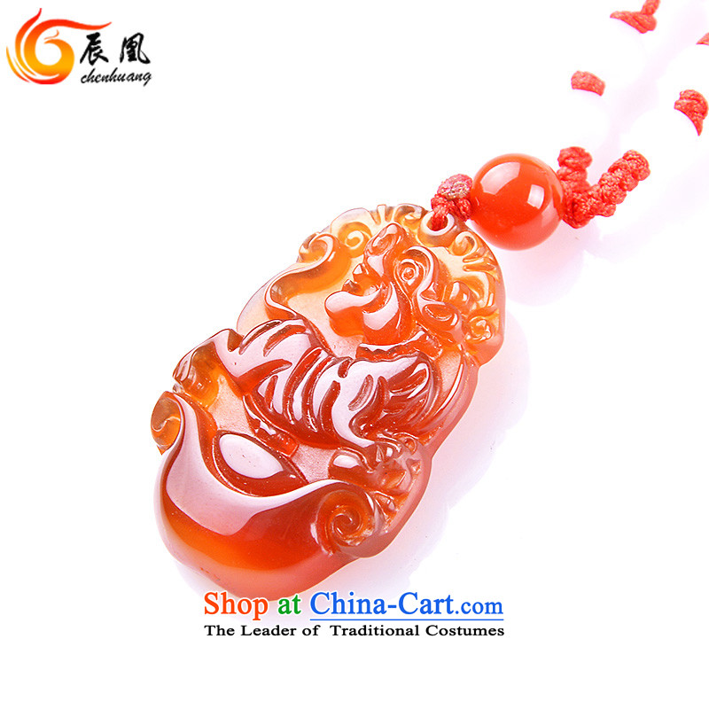E for 2016 natural Red Agate Pendant Zodiac necklace Yuk-pei men and women of the Chinese zodiac (bead chain necklace, e for shopping on the Internet has been pressed.