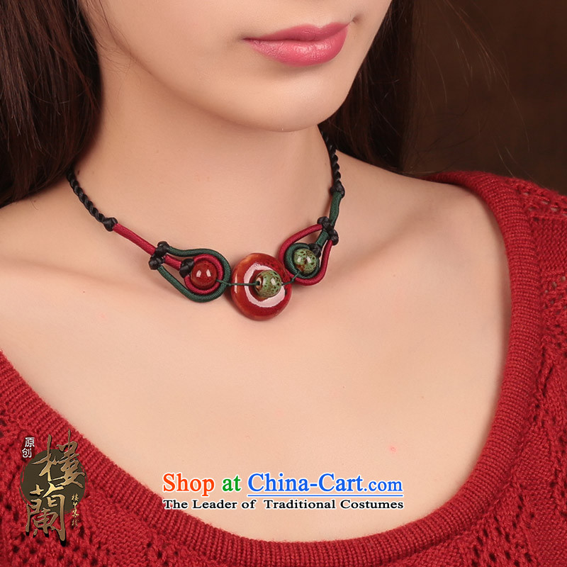 China wind ceramic clavicle link black scars also link women hand woven necklace ethnic jewelry standard size link perimeter of about 40 cm