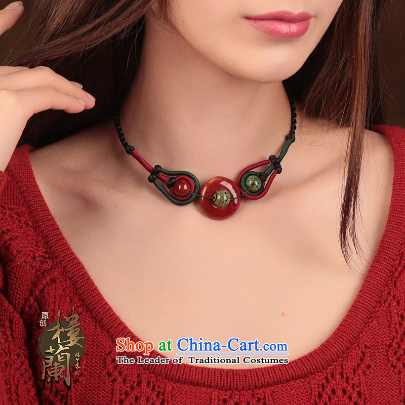 China wind ceramic clavicle link black scars also link women hand woven necklace ethnic jewelry standard size link perimeter of about 40 cm, possession of the United States , , , shopping on the Internet