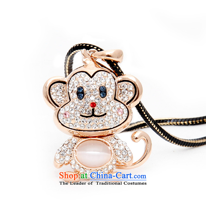 Shuttle Van Gogh, Korean Chinese Zodiac Monkey sweater link lovely cat's-eye pendant autumn and winter Ms. accessories from long chain Rose Gold