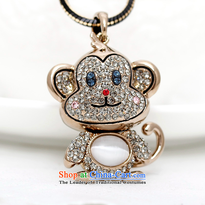 Shuttle Van Gogh, Korean Chinese Zodiac Monkey sweater link lovely cat's-eye pendant autumn and winter Ms. accessories from long chain black