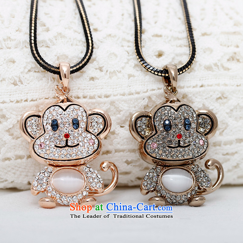 Shuttle Van Gogh, Korean Chinese Zodiac Monkey sweater link lovely cat's-eye pendant autumn and winter Ms. accessories from long black gold ,shovan,,, link shopping on the Internet