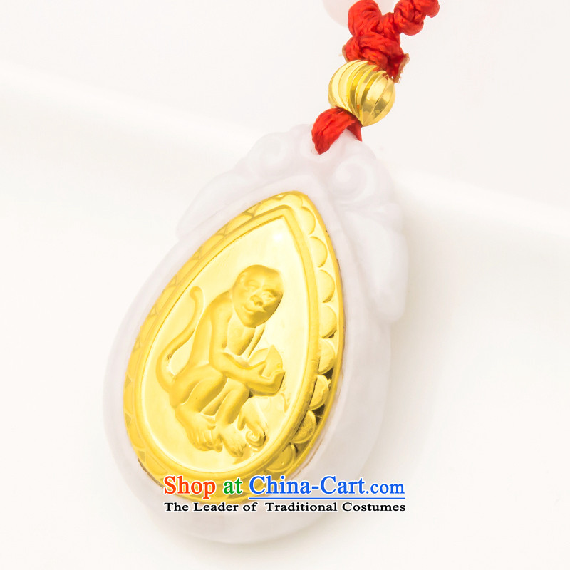 The Chief of the thousands of thousands - Mei-yu's gold inlay Jade the Chinese Zodiac Monkey gold pendants attached? N781033 authentication certificates