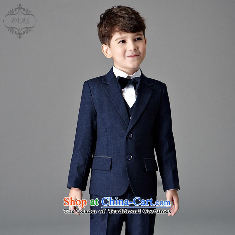 Eyas b suits small children with a suit coats winter 2015 Korean children's wear your baby Flower Girls dress (blue suit + trousers + tie + vest�140cm