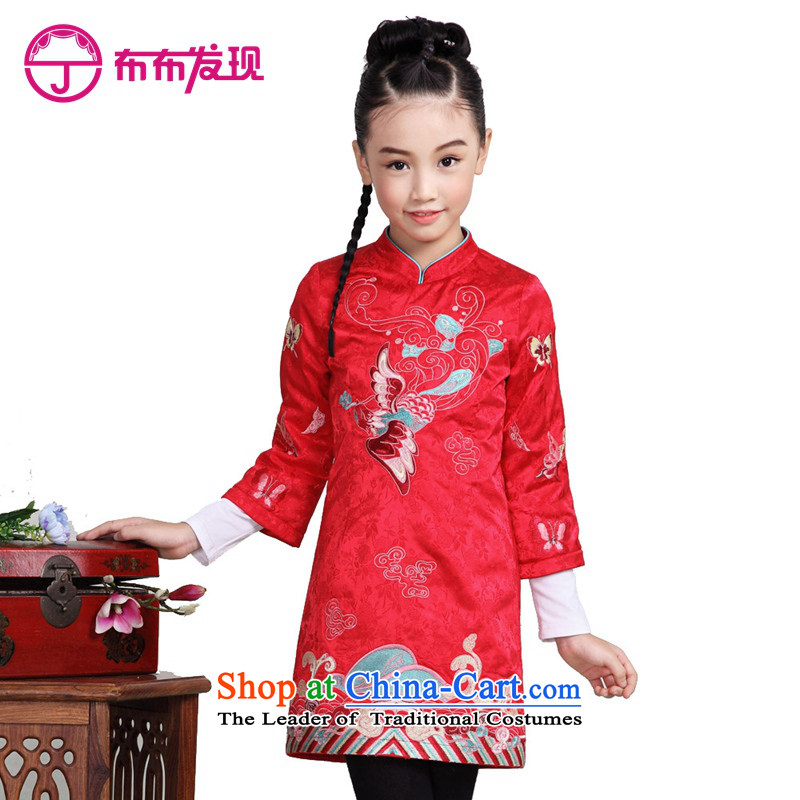 The Burkina found 2015 autumn and winter new children's wear girls clip cotton qipao warm long-sleeved CUHK long-sleeved cheongsam dress red child聽160