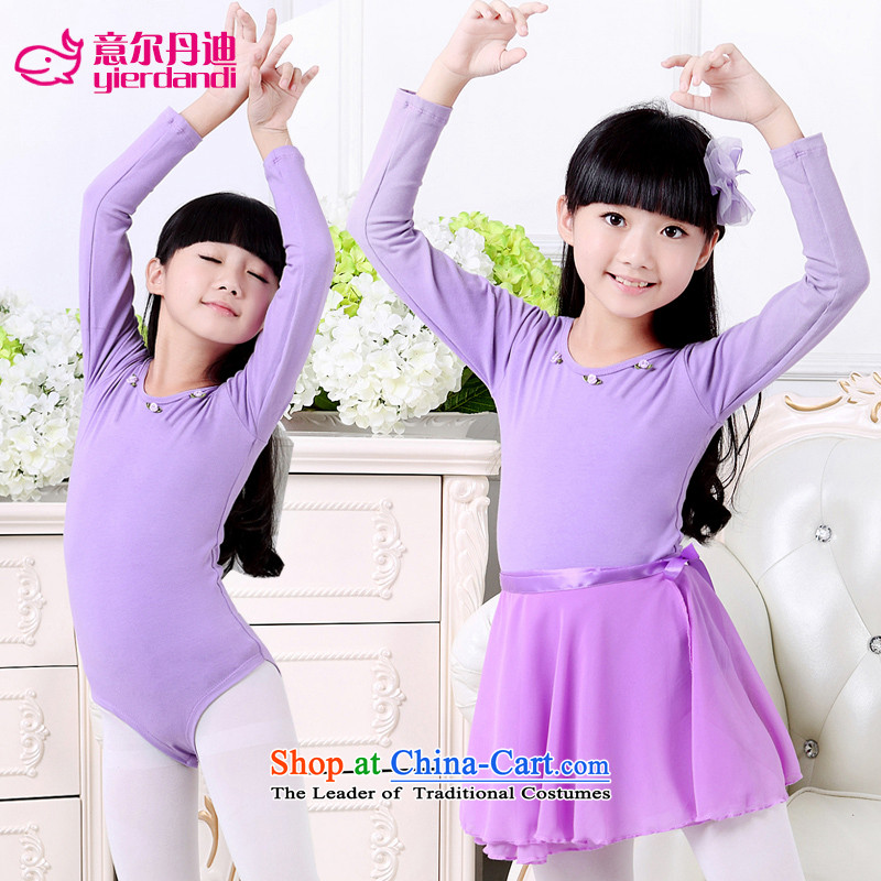 Intended for children dance dandi clothing exercise clothing girls of autumn and winter long-sleeved ballet skirt cotton Chinese Dance Services form the performance appraisal dancing children services serving Latin dance services purple single piece shape